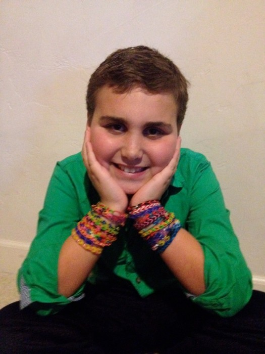 Bryce Rosenau and his bracelets (Photo courtesy of Julie Rosenau)